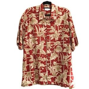 Pierre Cardin Hawaiian Print Shirt Red/Tan XL